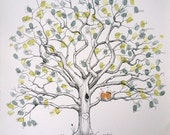 Fingerprint Tree Wedding Guest Book Alternative, Original Hand-drawn Large Twisted Oak Design (ink pads sold separately)