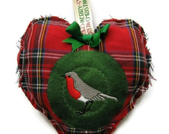 SALE Hanging Christmas decoration, red tartan, plaid robin, hanging heart, drawer sachet, French lavender or cinnamon scented bag