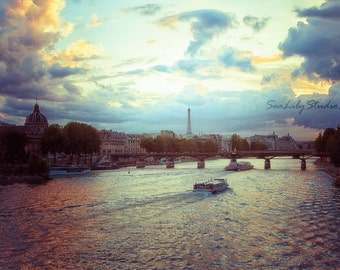 View of Paris : paris france french photography pont neuf river seine eiffel tower love romantic home decor 8x12 12x18 16x24 20x30 24x36