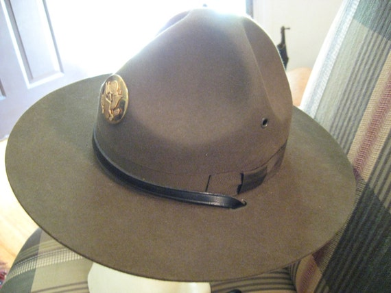 drill sergeant hat wool felt army 1968 military campaign 6