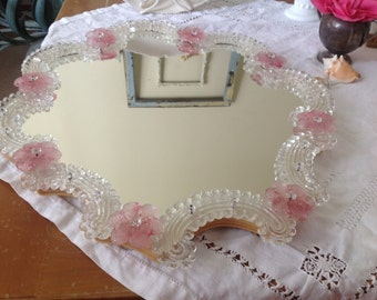 Vintage Venetian Glass Mirror Pink Rosettes Paris Apt Shabby Chic Cottage Style at Retro Daisy Girl