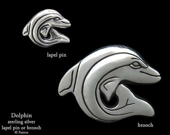 Dolphin Lapel Pin or Dolphin Brooch Sterling Silver