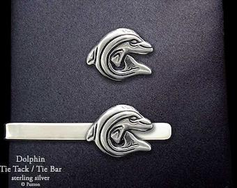 Dolphin Tie Tack or Dolphin Tie Bar / Tie Clip Sterling Silver