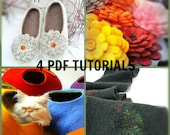 4 in 1 PDF Tutorial in English Felted Cat Cave+Felted flower+Felted Slippers+Felted Scarf
