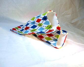 reusable fabric sandwich bag - multicolor argyle retro socks