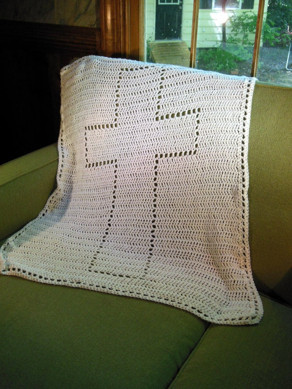Crochet Blanket heirloom baby blanket baptism cross by ...