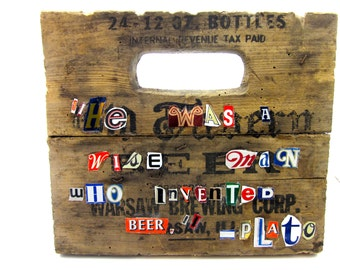 Plato Beer Quote - Vintage Beer Can Text Collage