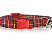Red Plaid Cat Collar, Custom Red Plaid/Tartan Cat Collar with your choice of breakaway bucke colour