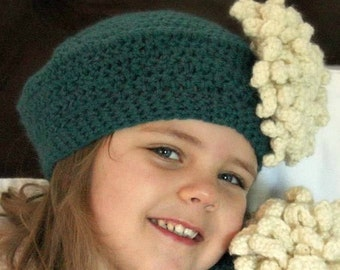 Slouchy Crochet Béret with Mum Flower Clip for Infant, Toddler, or Child