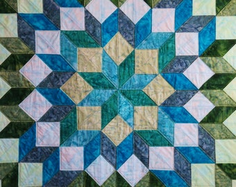 Handcrafted quilted batik tumbling block wagon wheel table cloth lap quilt with blues and greens