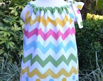 Easter Dress for little girls - pastel Chevron pillowcase dress, Easter outfit, spring dress, summer dress, polka dots, baby dress, gift