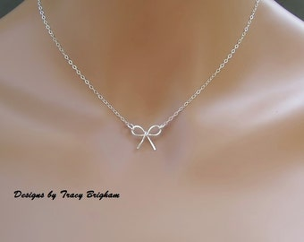 Sterling Silver Wire Bow Pendant Necklace Bridesmaid Maid of Honor Best Friend Mother Gift