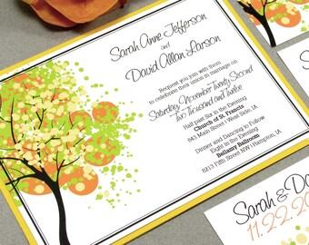 Tree Wedding Invitation Suite, Rustic Wedding Invitations, Modern Wedding Invitations, Fall Wedding Invitation Pocket Wedding Invites Yellow