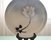 Huge Restaurant Ware Chop Plate or Platter, Syracuse China, Airbrushed Rose, Black Grey Gray, 1953