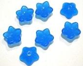 Capri Blue Opaque Glass Flower Bead   (4902)