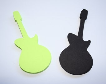 18 x Guitar Die Cuts - Black and Lime Green