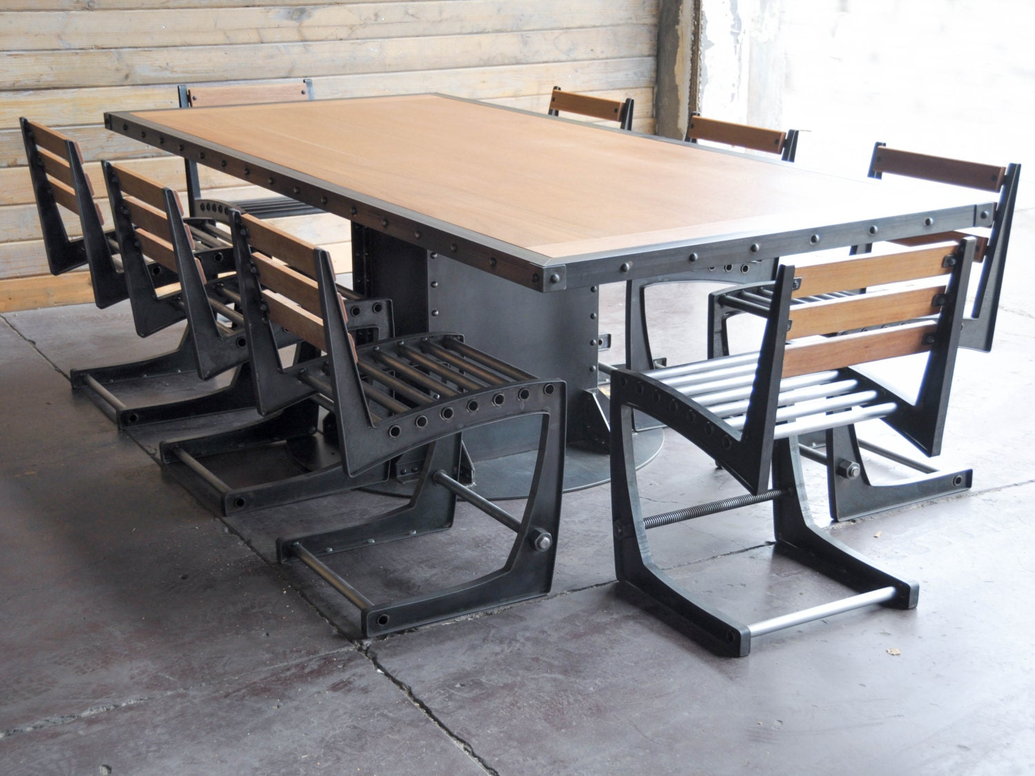 vintage industrial dining table and chairs by vintageindustrial