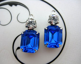 10x8 Swarovski Sapphire Blue Octagon and Crystal Clear Round Rhinestone in Silver Double One Ring Setting 1 Pair