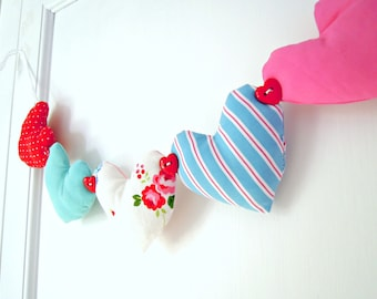 Heart Garland Pretty Floral/Pink /Aqua / Blue/ Red