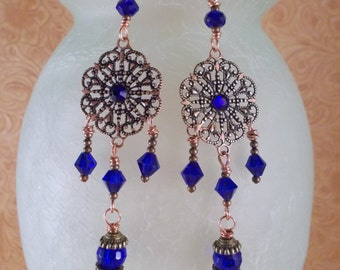 Gypsy Cowgirl Earrings - Antiqued Copper Filigree with Cobalt Blue Swarovski Crystal