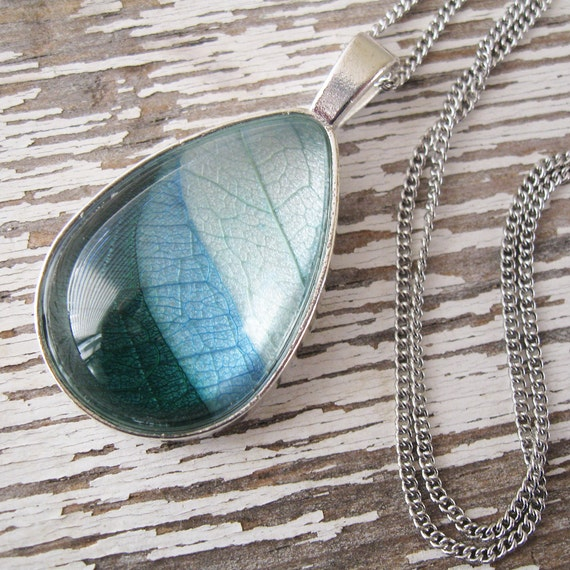 Real Leaf Necklace - The Land and the Sky Teardrop Botanical Necklace