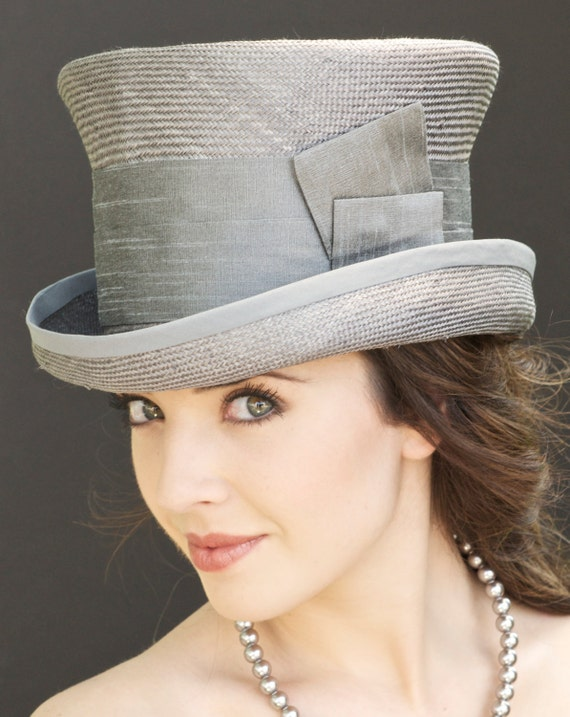 Wedding Hat, Derby Hat, Women's Gray Top Hat. Church Hat, Gray Straw Top Hat, Victorian Riding Hat Mad Hatter. Formal Hat Trilby