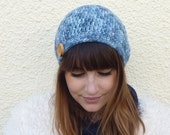 100% ALPACA Beanie .'Blue Jeans Baby ' ( a denim blue blend ) with Beech  wood button ....Ready to ship.....
