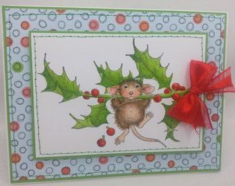 Mouse Holly Leaf Christmas - Blank NoteCard, Greetings Card, Handmade Card