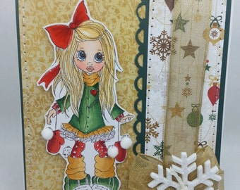 Christmas Gold Snow - Blank NoteCard, Greetings Card, Handmade Card