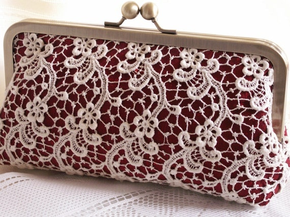 Handmade silk, lace clutch handbag. Cream, red. DUCHESS by Lella Rae on Etsy