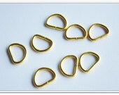 10 PIECES, 1cm,  golden D Rings