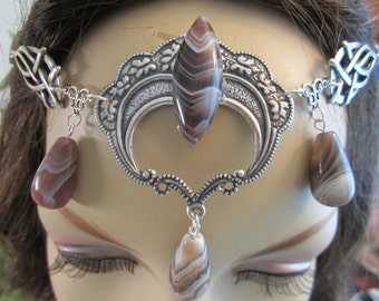 Botswana Agate Circlet of the Huntress Elven Celtic Druid LARP Bridal Renaissance Cosplay