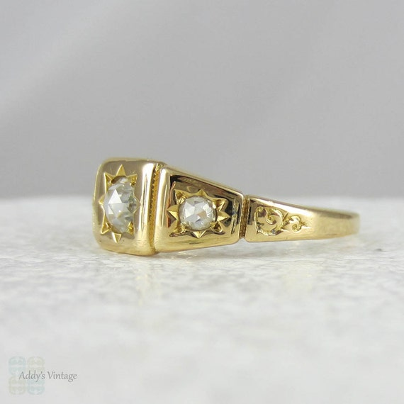 Antique Rose Cut Diamond Gypsy Ring. Yellow Gold Rose Cut Trilogy Ring with Engraved Swirl Design, 19th Century.