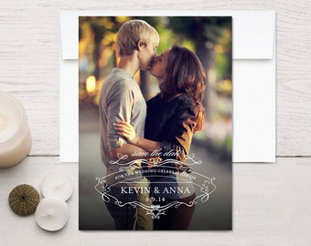 Save the Date Photo Cards Vintage Scroll