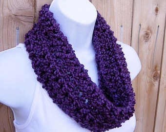 SUMMER COWL SCARF Solid Grape Dark Purple, Small Short Infinity Loop, Crochet Knit Soft Lightweight Neck Warmer, Ready to Ship in 2 Days