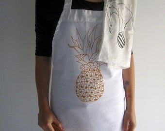 Screen Printed Cotton Apron - Natural Cotton Twill - Pineapple - Eco Friendly - Super Awesome Kitchen Apron - Handmade - Full Apron