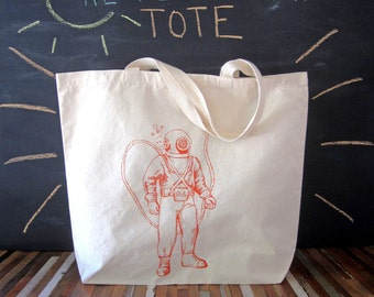 Canvas Tote - Screen Printed Recycled Cotton Grocery Bag - Large Tote Bag - Market Tote - Reusable and Washable - Eco Friendly - Sea Diver