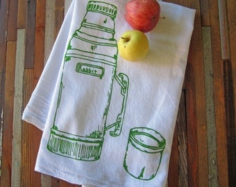 Tea Towel - Screen Printed Flour Sack Towel - Absorbent Kitchen Towel - Handmade - Camping Thermos - Dish Cloth - Eco Friendly Cotton Towel
