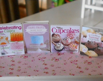 BAKING COOKBOOKS - Cakes Cupcakes Muffins - Dollhouse Miniature 1:12 Scale