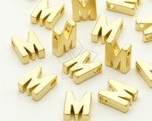 IN-026-MG / 2 Pcs - Initial Tiny Pendant, Alphabet, Capital letter, Upper case, M, Matte Gold Plated over Brass / 5mm x 7mm