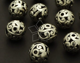 ME-136-AS / 2 Pcs - Hollow Carved Beads (Wind), Antique Silver Plated over Brass / 10mm