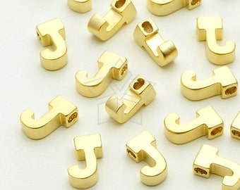 IN-020-MG / 2 Pcs - Initial Tiny Pendant, Alphabet, Capital letter, Upper case, J, Matte Gold Plated over Brass / 5mm x 7mm