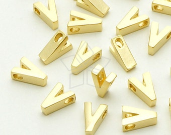 IN-044-MG / 2 Pcs - Initial Tiny Pendant, Alphabet, Capital letter, Upper case, V, Matte Gold Plated over Brass / 5mm x 7mm