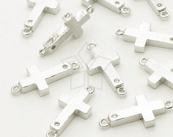 PD-648-OR / 2 Pcs - Cubic Sideways Cross Pendant, Silver Plated over Brass / 7mm x 15mm