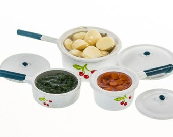 three pans of vegatables dollhouse miniature food