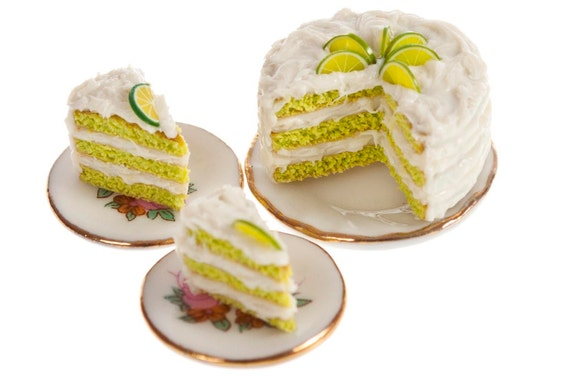 key lime cake with two slices dollhouse miniature by amanspeak