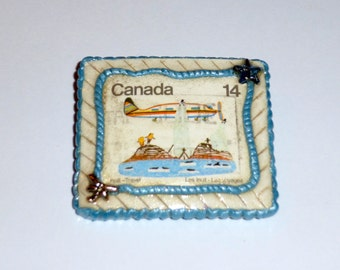 Canadian Inuit Postage Stamp Brooch Pin Polymer Clay Hand Made