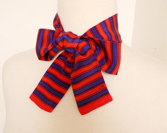 Vintage Women's Red Blue Horizontal Stripes Silk Neck Tie Hair Band