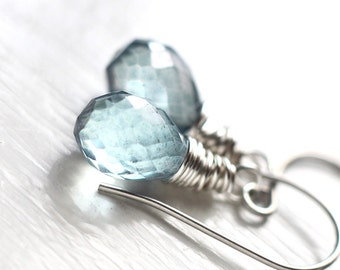 Mystic Blue Quartz Earrings, Winter or Summer Wedding Bridesmaids Jewelry - Light Droplets