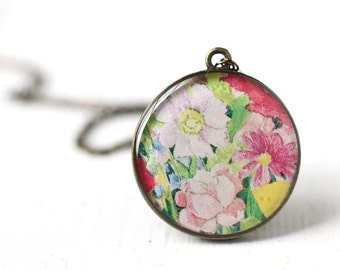 Spring Flowers Art Pendant Necklace - Pink Daisies and Roses, Bridesmaid Jewelry For Spring Weddings